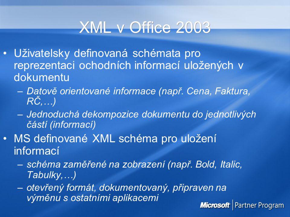 XML v Office 2003 Uživatelsky definovaná schémata pro reprezentaci ochodních informací uložených v dokumentu –Datově orientované informace (např. Cena