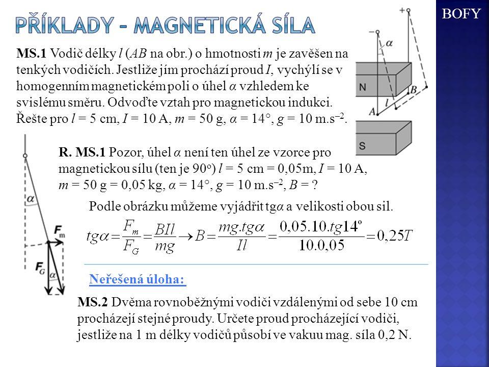 MS.1 Vodič délky l (AB na obr.) o hmotnosti m je zavěšen na tenkých vodičích. Jestliže jím prochází proud I, vychýlí se v homogenním magnetickém poli