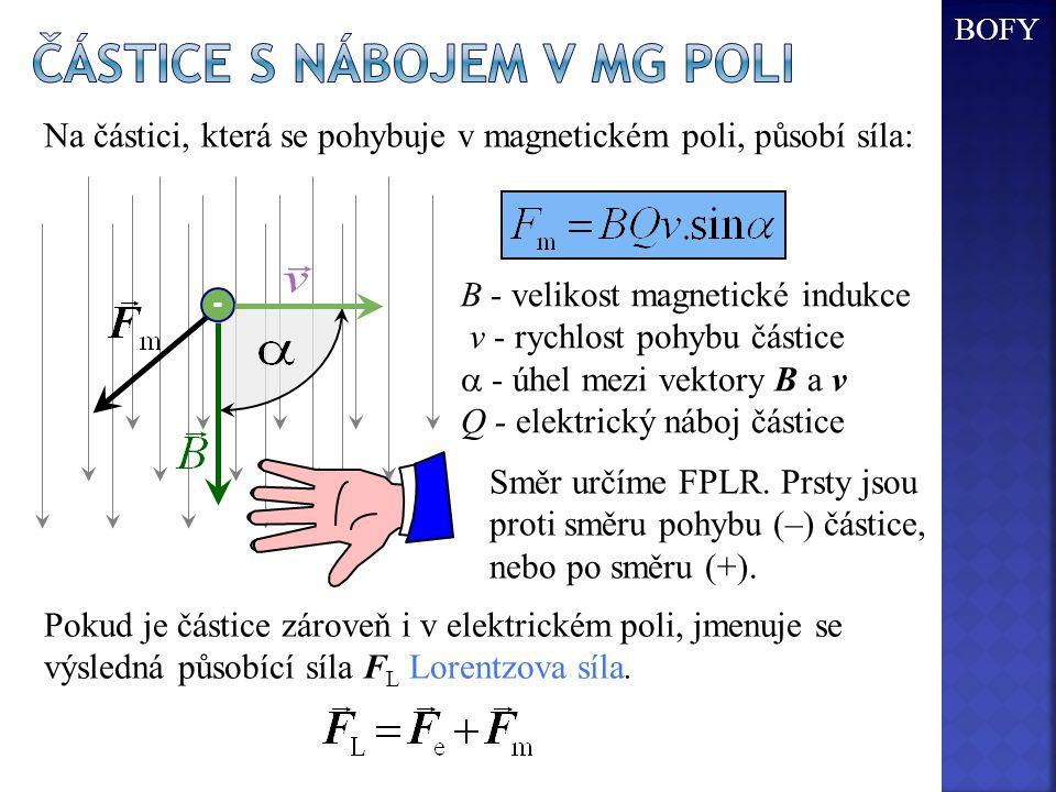 - B - velikost magnetické indukce v - rychlost pohybu částice  - úhel mezi vektory B a v Q - elektrický náboj částice Na částici, která se pohybuje v