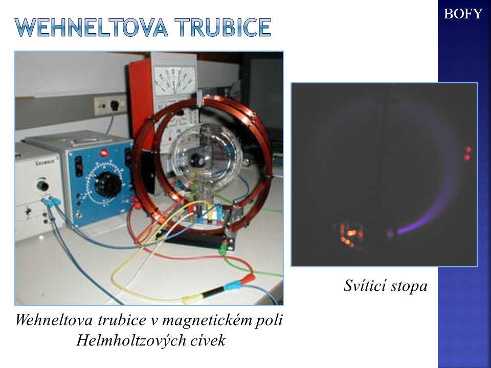 Wehneltova trubice v magnetickém poli Helmholtzových cívek Svíticí stopa BOFY