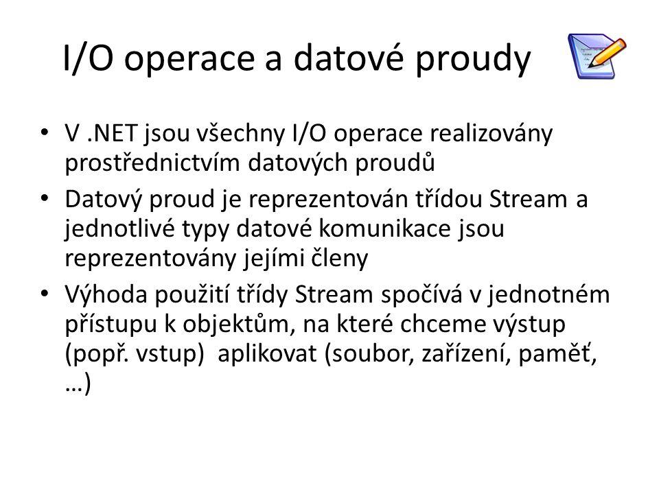 I/O operace a datové proudy V.NET jsou všechny I/O operace realizovány prostřednictvím datových proudů Datový proud je reprezentován třídou Stream a j