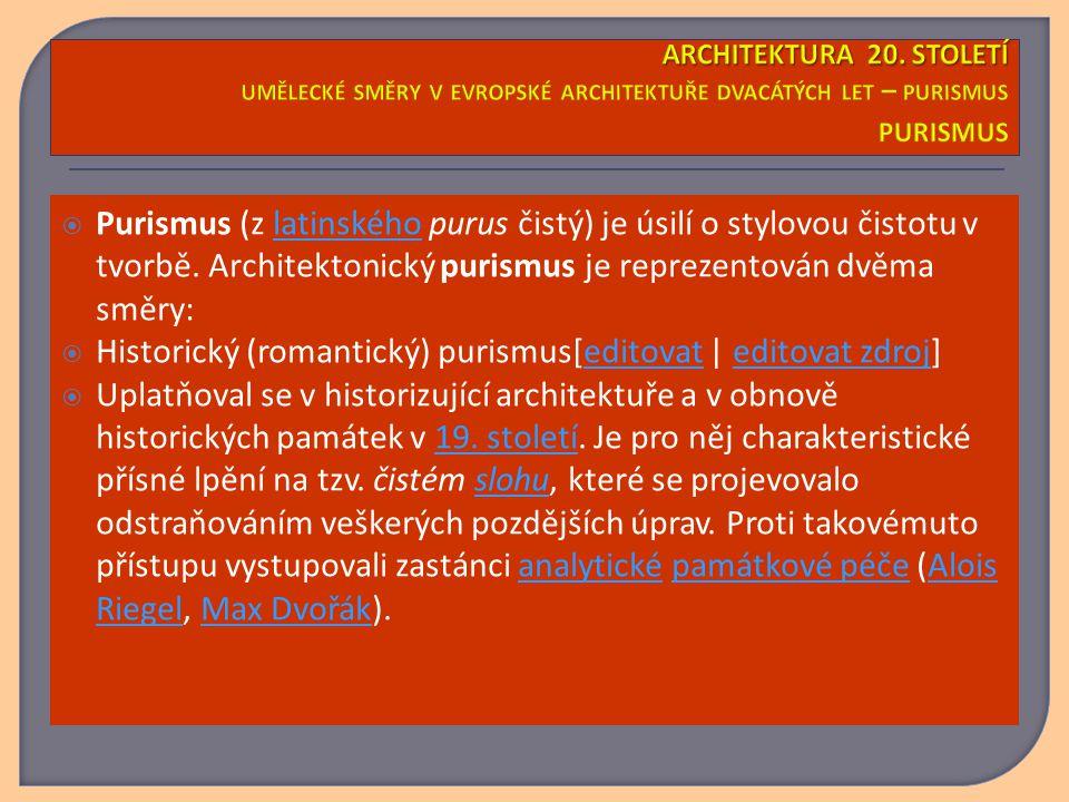  Purismus (z latinského purus čistý) je úsilí o stylovou čistotu v tvorbě. Architektonický purismus je reprezentován dvěma směry:latinského  Histori