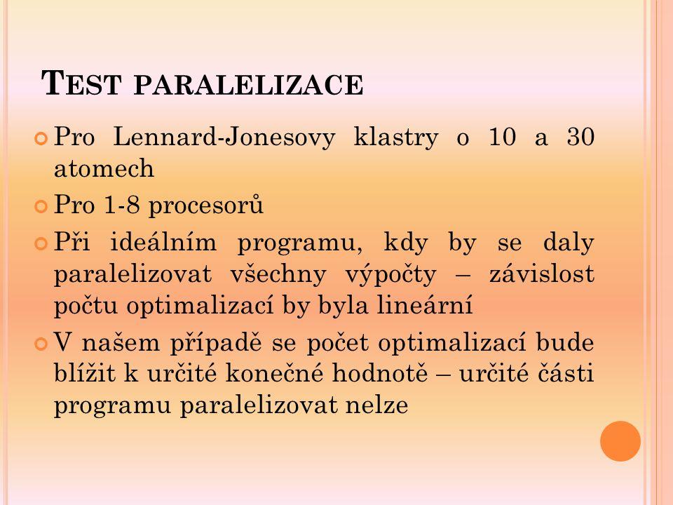 T EST PARALELIZACE Pro Lennard-Jonesovy klastry o 10 a 30 atomech Pro 1-8 procesorů Při ideálním programu, kdy by se daly paralelizovat všechny výpočt