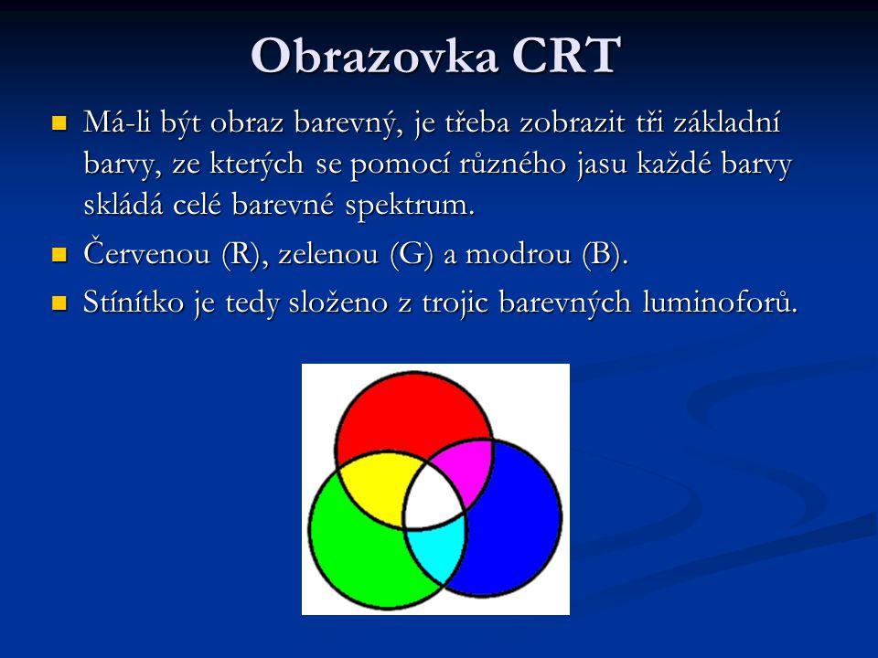 Obrazovka CRT Má-li být obraz barevný, je třeba zobrazit tři základní barvy, ze kterých se pomocí různého jasu každé barvy skládá celé barevné spektrum.