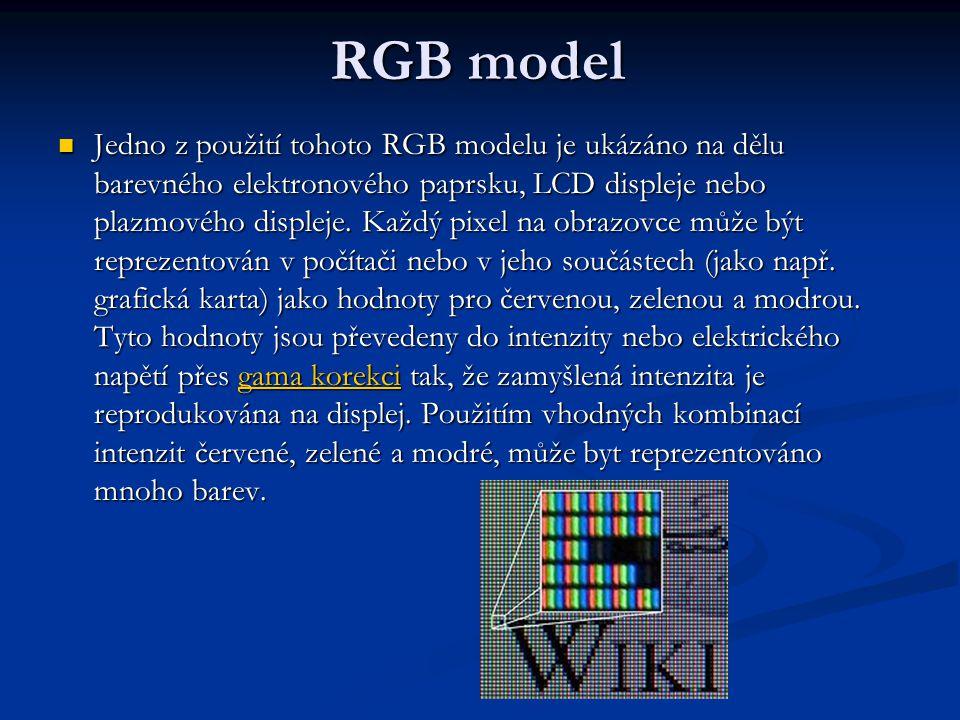 RGB model Jedno z použití tohoto RGB modelu je ukázáno na dělu barevného elektronového paprsku, LCD displeje nebo plazmového displeje.