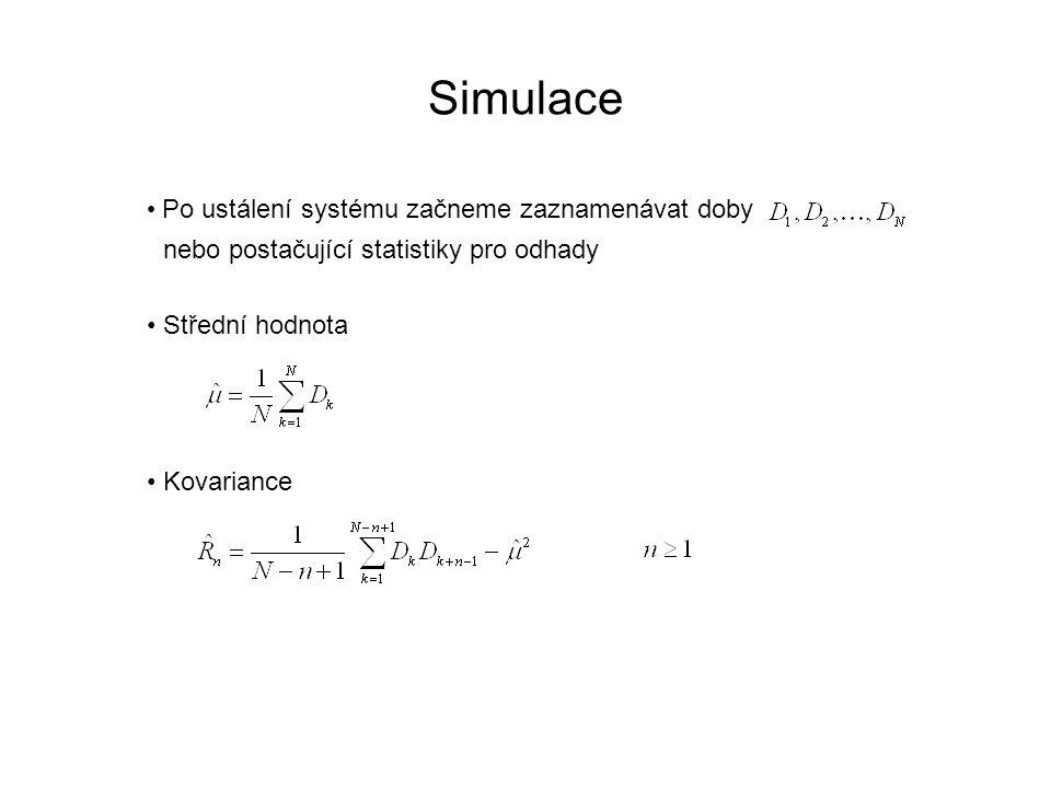 Simulace Po ustálení systému začneme zaznamenávat doby nebo postačující statistiky pro odhady Střední hodnota Kovariance