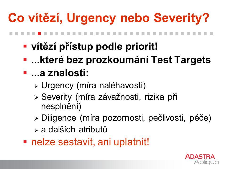 Co vítězí, Urgency nebo Severity?  vítězí přístup podle priorit! ...které bez prozkoumání Test Targets ...a znalosti:  Urgency (míra naléhavosti)