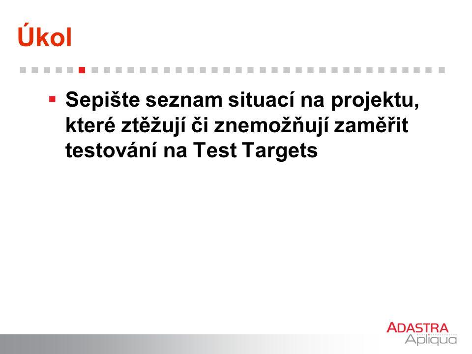 Úkol  Sepište seznam situací na projektu, které ztěžují či znemožňují zaměřit testování na Test Targets
