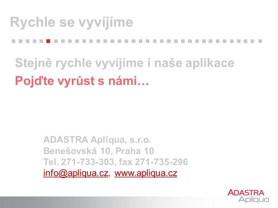 ADASTRA Apliqua, s.r.o. Benešovská 10, Praha 10 Tel. 271-733-303, fax 271-735-296 info@apliqua.czinfo@apliqua.cz, www.apliqua.czwww.apliqua.cz Stejně