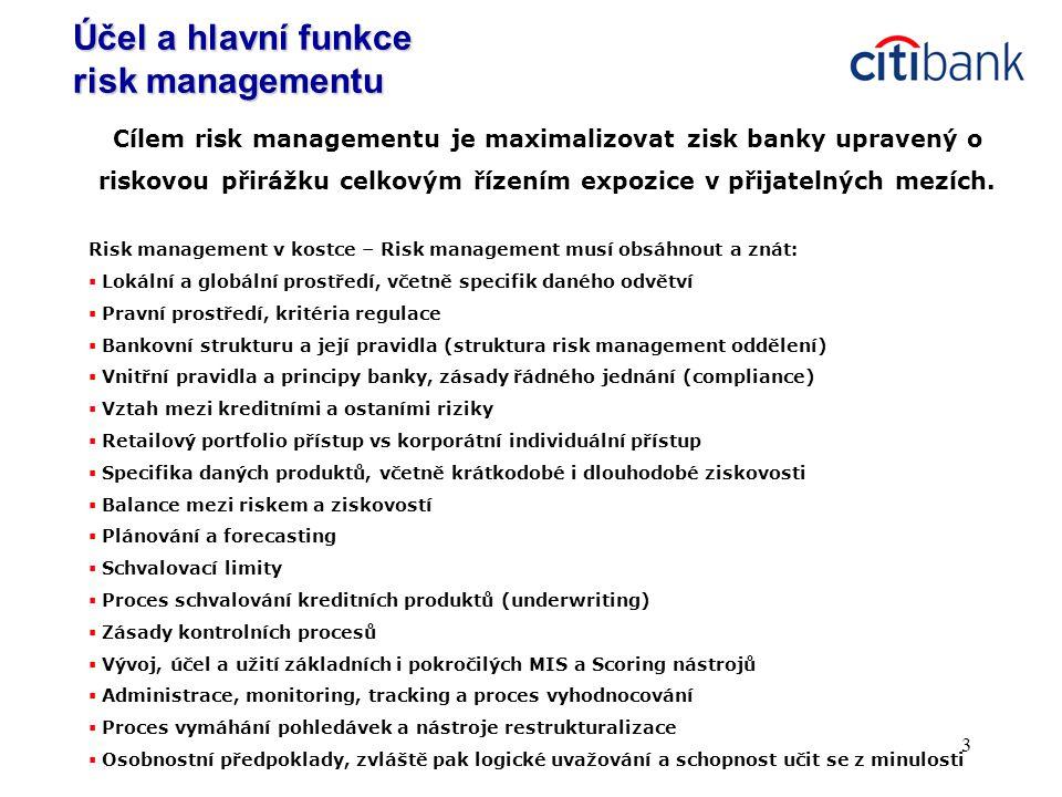 14 Citibank v ČR má jednoho z 31 scoring specialistů na světě  Score = hodnota (výstup matematického vzorce) predikující budoucí chování žadatele/klienta v určitém časovém horizontu  Příklad: vyšší score = nižší pravděpodobnost dlužnosti/ztráty  Kreditní scoring je statistický nástroj umožňující předvídat kreditní riziko spojené s poskytnutím úvěru.
