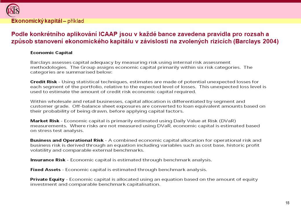 18 Ekonomický kapitál – příklad Podle konkrétního aplikování ICAAP jsou v každé bance zavedena pravidla pro rozsah a způsob stanovení ekonomického kapitálu v závislosti na zvolených rizicích (Barclays 2004)