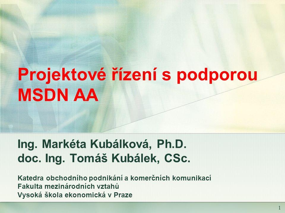 1 Projektové řízení s podporou MSDN AA Ing. Markéta Kubálková, Ph.D.