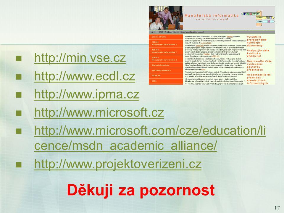17 Děkuji za pozornost http://min.vse.cz http://www.ecdl.cz http://www.ipma.cz http://www.microsoft.cz http://www.microsoft.com/cze/education/li cence/msdn_academic_alliance/ http://www.microsoft.com/cze/education/li cence/msdn_academic_alliance/ http://www.projektoverizeni.cz