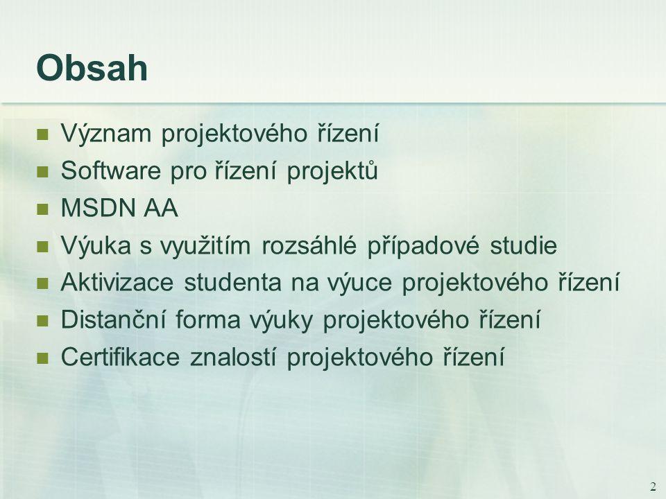 2 Obsah Význam projektového řízení Software pro řízení projektů MSDN AA Výuka s využitím rozsáhlé případové studie Aktivizace studenta na výuce projektového řízení Distanční forma výuky projektového řízení Certifikace znalostí projektového řízení