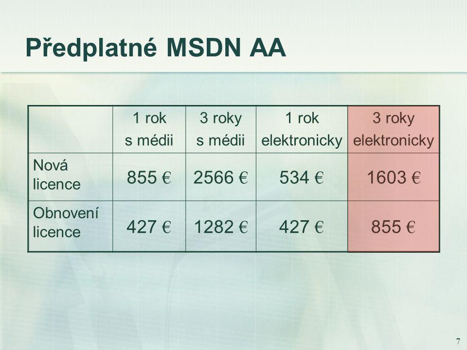 7 Předplatné MSDN AA 1 rok s médii 3 roky s médii 1 rok elektronicky 3 roky elektronicky Nová licence 855 € 2566 € 534 € 1603 € Obnovení licence 427 € 1282 € 427 € 855 €