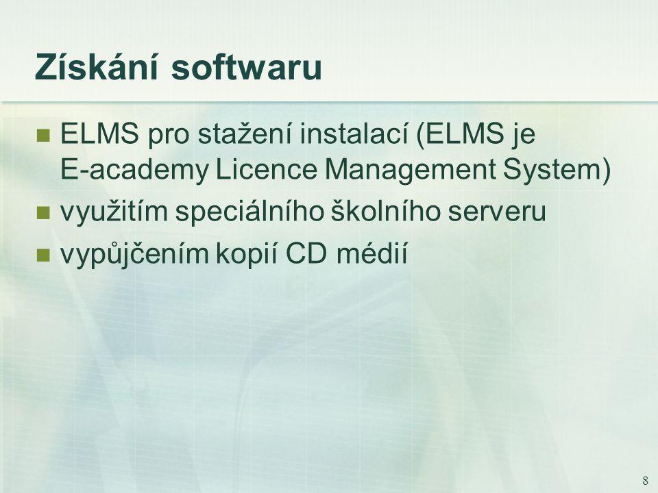 8 Získání softwaru ELMS pro stažení instalací (ELMS je E-academy Licence Management System) využitím speciálního školního serveru vypůjčením kopií CD médií