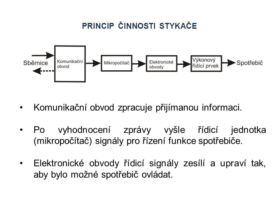 PRINCIP ČINNOSTI STYKAČE Komunikační obvod zpracuje přijímanou informaci. Po vyhodnocení zprávy vyšle řídicí jednotka (mikropočítač) signály pro řízen