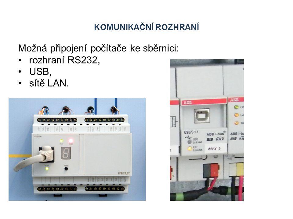 KOMUNIKAČNÍ ROZHRANÍ Možná připojení počítače ke sběrnici: rozhraní RS232, USB, sítě LAN.
