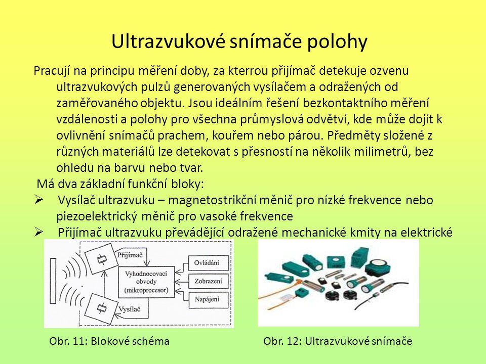 Ultrazvukové snímače polohy Pracují na principu měření doby, za kterrou přijímač detekuje ozvenu ultrazvukových pulzů generovaných vysílačem a odražen