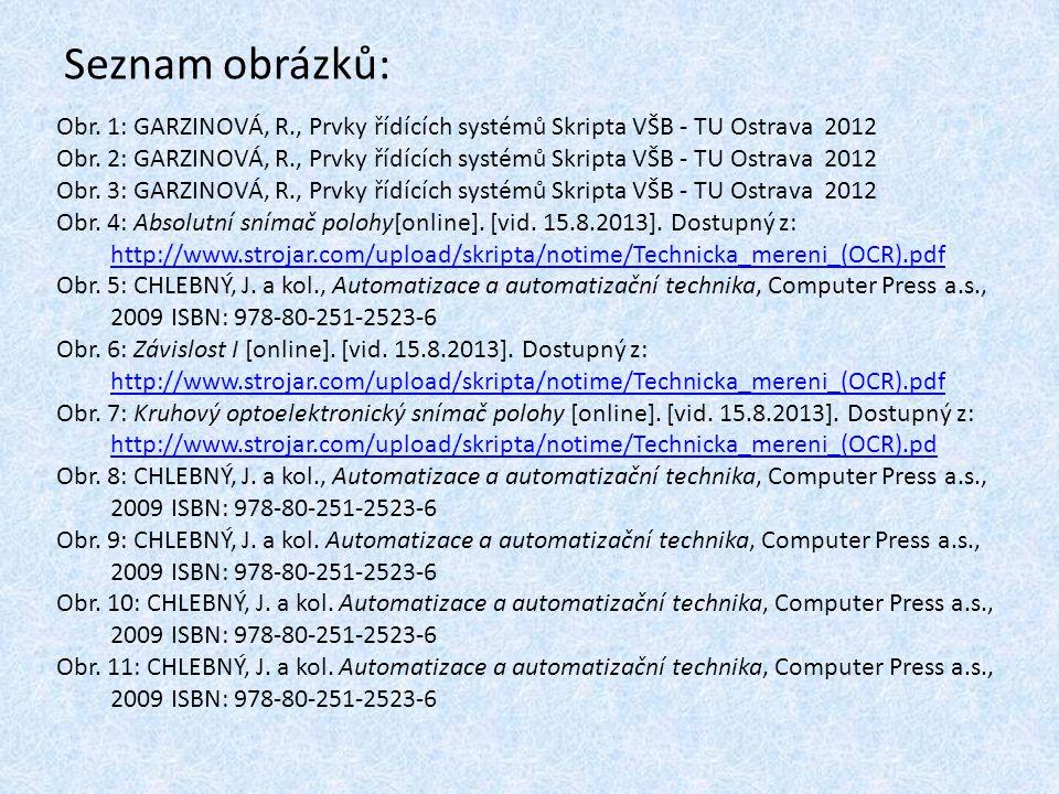 Seznam obrázků: Obr. 1: GARZINOVÁ, R., Prvky řídících systémů Skripta VŠB - TU Ostrava 2012 Obr. 2: GARZINOVÁ, R., Prvky řídících systémů Skripta VŠB