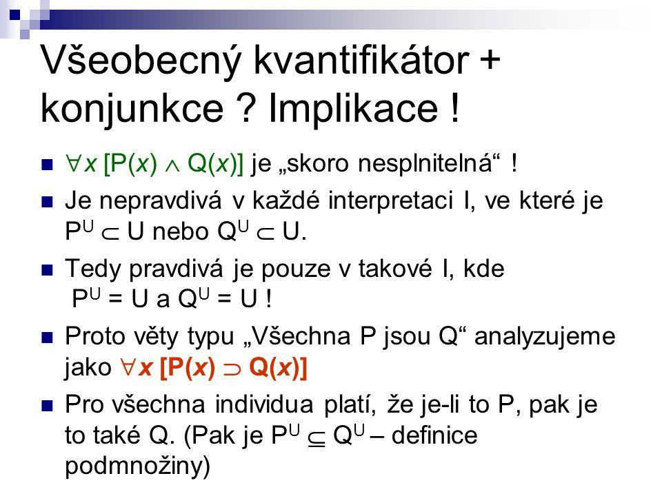 """Všeobecný kvantifikátor + konjunkce ? Implikace !  x [P(x)  Q(x)] je """"skoro nesplnitelná"""" ! Je nepravdivá v každé interpretaci I, ve které je P U """
