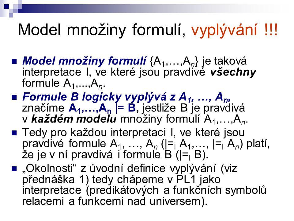 Model množiny formulí, vyplývání !!! Model množiny formulí {A 1,…,A n } je taková interpretace I, ve které jsou pravdivé všechny formule A 1,...,A n.