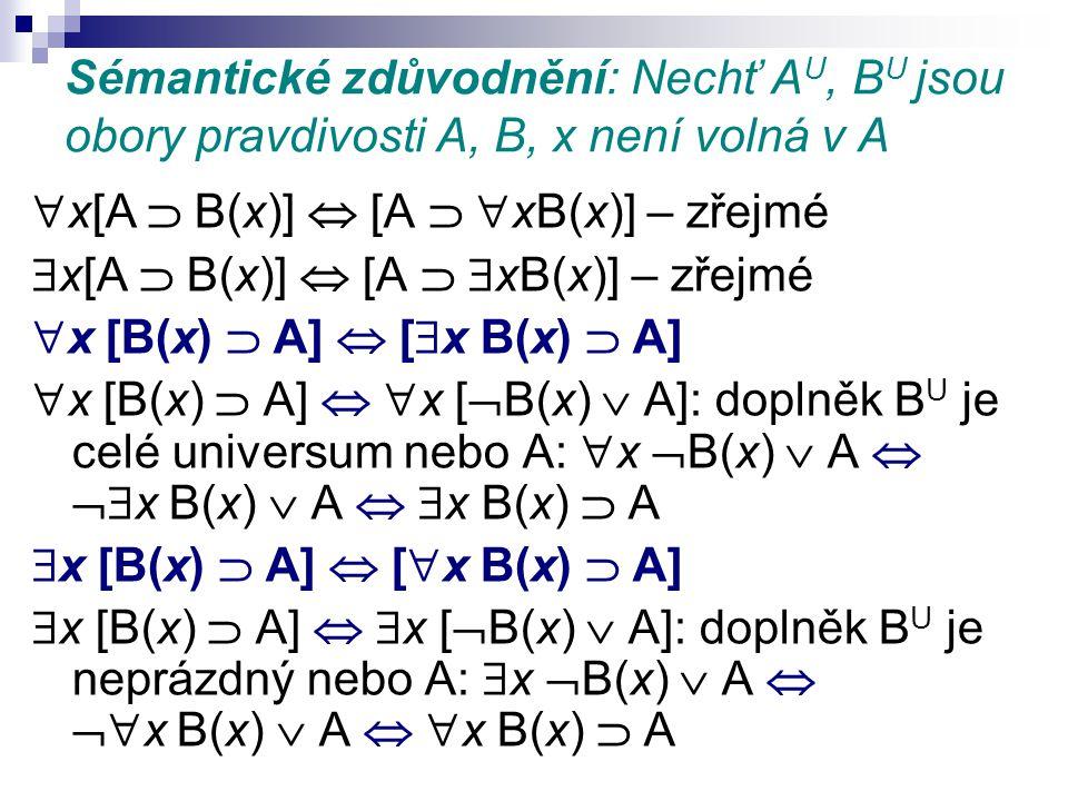 Sémantické zdůvodnění: Nechť A U, B U jsou obory pravdivosti A, B, x není volná v A  x[A  B(x)]  [A   xB(x)] – zřejmé  x[A  B(x)]  [A   xB(x