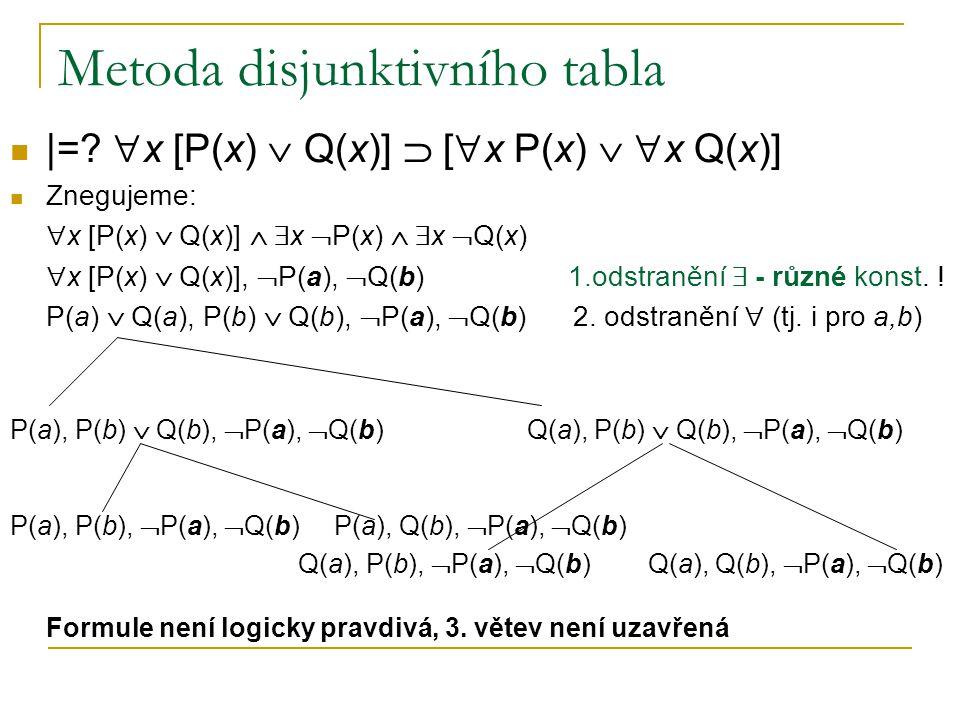 Metoda disjunktivního tabla |=?  x [P(x)  Q(x)]  [  x P(x)   x Q(x)] Znegujeme:  x [P(x)  Q(x)]   x  P(x)   x  Q(x)  x [P(x)  Q(x)], 