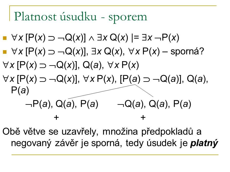 Platnost úsudku - sporem  x [P(x)   Q(x)]   x Q(x) |=  x  P(x)  x [P(x)   Q(x)],  x Q(x),  x P(x) – sporná?  x [P(x)   Q(x)], Q(a),  x