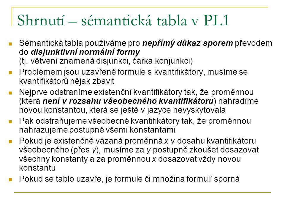 Shrnutí – sémantická tabla v PL1 Sémantická tabla používáme pro nepřímý důkaz sporem převodem do disjunktivní normální formy (tj. větvení znamená disj