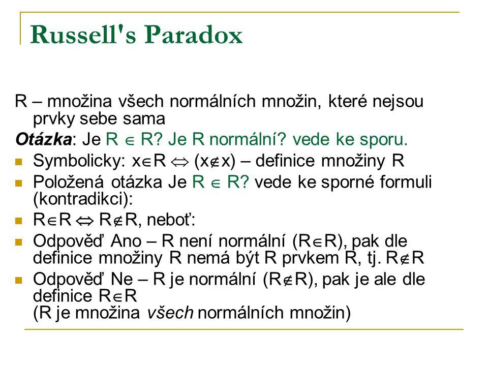 Russell's Paradox R – množina všech normálních množin, které nejsou prvky sebe sama Otázka: Je R  R? Je R normální? vede ke sporu. Symbolicky: x  R