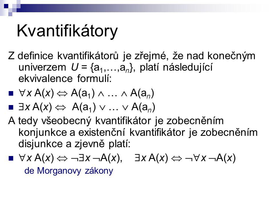 Kvantifikátory Z definice kvantifikátorů je zřejmé, že nad konečným univerzem U = {a 1,…,a n }, platí následující ekvivalence formulí:  x A(x)  A(a