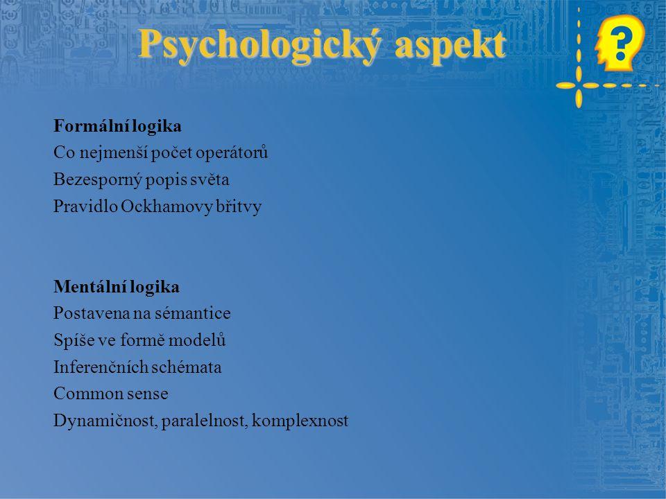 Psychologický aspekt Formální logika Co nejmenší počet operátorů Bezesporný popis světa Pravidlo Ockhamovy břitvy Mentální logika Postavena na sémanti