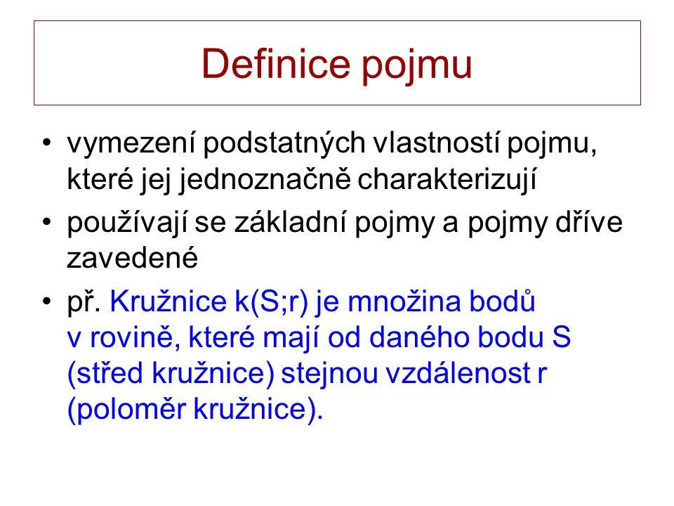 Definice pojmu vymezení podstatných vlastností pojmu, které jej jednoznačně charakterizují používají se základní pojmy a pojmy dříve zavedené př. Kruž