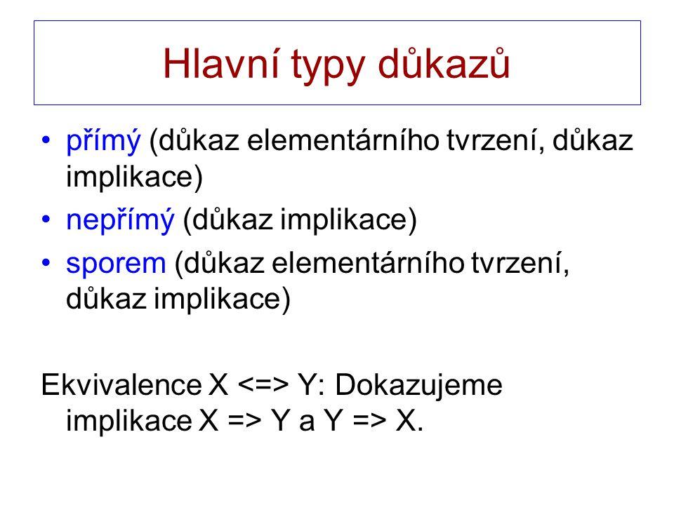 Hlavní typy důkazů přímý (důkaz elementárního tvrzení, důkaz implikace) nepřímý (důkaz implikace) sporem (důkaz elementárního tvrzení, důkaz implikace) Ekvivalence X Y: Dokazujeme implikace X => Y a Y => X.