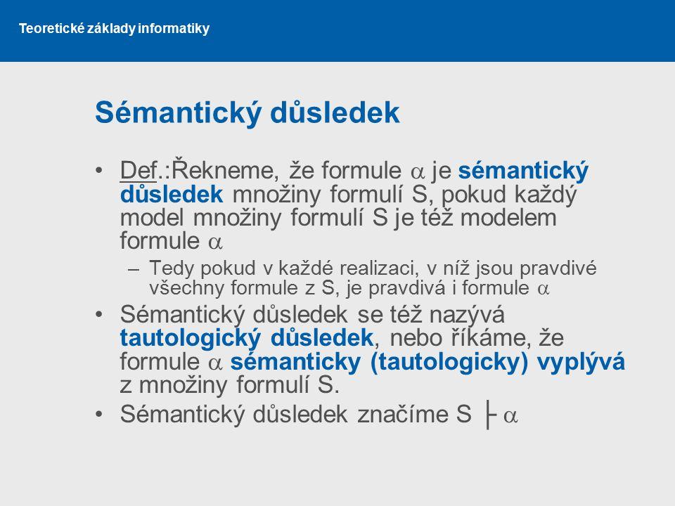 Teoretické základy informatiky Sémantický důsledek Def.:Řekneme, že formule  je sémantický důsledek množiny formulí S, pokud každý model množiny formulí S je též modelem formule  –Tedy pokud v každé realizaci, v níž jsou pravdivé všechny formule z S, je pravdivá i formule  Sémantický důsledek se též nazývá tautologický důsledek, nebo říkáme, že formule  sémanticky (tautologicky) vyplývá z množiny formulí S.