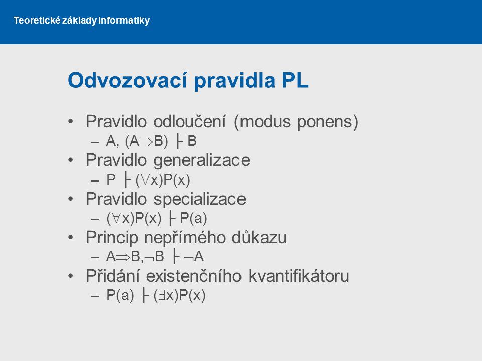 Teoretické základy informatiky Odvozovací pravidla PL Pravidlo odloučení (modus ponens) –A, (A  B) ├ B Pravidlo generalizace –P ├ (  x)P(x) Pravidlo