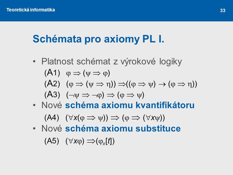 Teoretická informatika Schémata pro axiomy PL I. Platnost schémat z výrokové logiky ( A 1)   (    ) ( A 2) (   (    ))  ((    )  (  