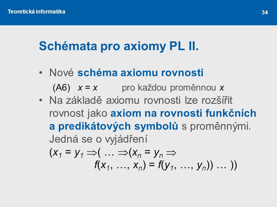 Teoretická informatika Schémata pro axiomy PL II. Nové schéma axiomu rovnosti (A6) x = xpro každou proměnnou x Na základě axiomu rovnosti lze rozšířit