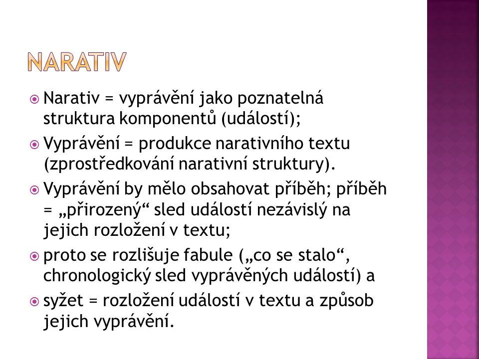  Narativ = vyprávění jako poznatelná struktura komponentů (událostí);  Vyprávění = produkce narativního textu (zprostředkování narativní struktury).