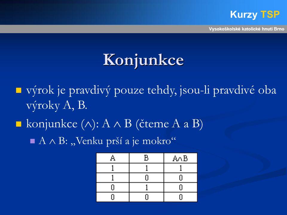 Konjunkce Vysokoškolské katolické hnutí Brno Kurzy TSP výrok je pravdivý pouze tehdy, jsou-li pravdivé oba výroky A, B.