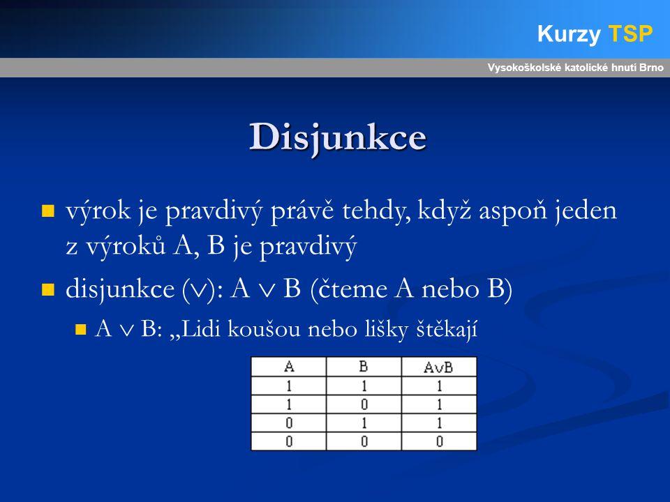 """Disjunkce Vysokoškolské katolické hnutí Brno Kurzy TSP výrok je pravdivý právě tehdy, když aspoň jeden z výroků A, B je pravdivý disjunkce (  ): A  B (čteme A nebo B) A  B: """"Lidi koušou nebo lišky štěkají"""