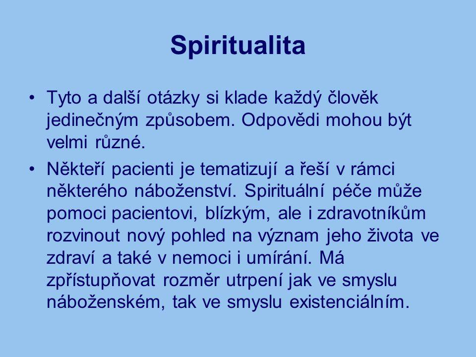 Spiritualita Tyto a další otázky si klade každý člověk jedinečným způsobem. Odpovědi mohou být velmi různé. Někteří pacienti je tematizují a řeší v rá