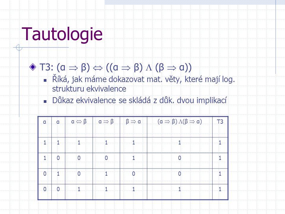 Tautologie T3: (α  β)  ((α  β)  (β  α)) Říká, jak máme dokazovat mat.