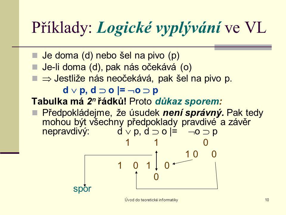 Úvod do teoretické informatiky10 Příklady: Logické vyplývání ve VL Je doma (d) nebo šel na pivo (p) Je-li doma (d), pak nás očekává (o)  Jestliže nás