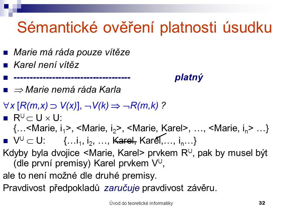 Úvod do teoretické informatiky32 Sémantické ověření platnosti úsudku Marie má ráda pouze vítěze Karel není vítěz -------------------------------------