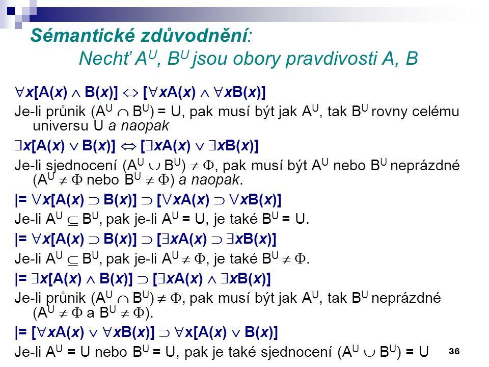 36 Sémantické zdůvodnění: Nechť A U, B U jsou obory pravdivosti A, B  x[A(x)  B(x)]  [  xA(x)   xB(x)] Je-li průnik (A U  B U ) = U, pak musí b