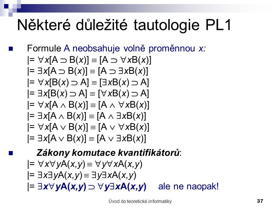 Úvod do teoretické informatiky37 Některé důležité tautologie PL1 Formule A neobsahuje volně proměnnou x: |=  x[A  B(x)]  [A   xB(x)] |=  x[A  B