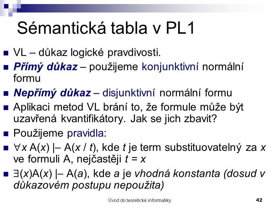 Úvod do teoretické informatiky42 Sémantická tabla v PL1 VL – důkaz logické pravdivosti. Přímý důkaz – použijeme konjunktivní normální formu Nepřímý dů