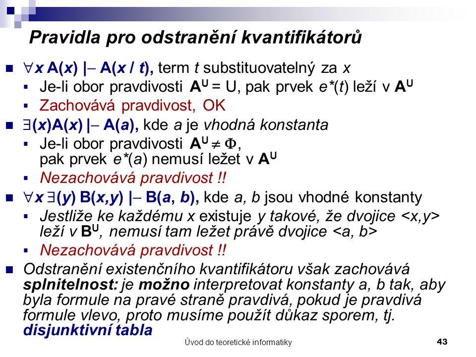 Úvod do teoretické informatiky43 Pravidla pro odstranění kvantifikátorů  x A(x) |  A(x / t), term t substituovatelný za x  Je-li obor pravdivosti A